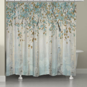 1 Piece Multi Nature Floral Themed Shower Curtain, Beautiful Colourful Pretty Forest Birch Trees Print, Indie Inspired Hippy Spirit, Gorgeous Digital Graphic Print Bathtub Curtain, Blue Gold Off-White