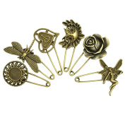 LEFV™ Safety Pin Brooch Breast Pin Broach Fashion Jewellery Gift Ornament, Pack of 6