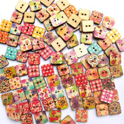 RoseSummer 25pcs/pack Square Shaped Painted 2 Hole Wooden Buttons 15mm x15mm