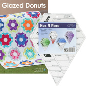 Bundle of Jaybird Quilts Glazed Donuts Quilt Pattern and Hex N More Ruler, 5 Finished Size Quilt Options