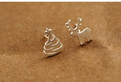 Women Fashion Authentic 925 Sterling Silver Stud Earring Christmas Deer Tree Earrings Girls Christmas Gift Jewellery