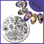 NICOLE DIARY 1Pc Stamping Plate Skull Rose Pattern 5.6cm Round Nail Art Image Plate