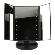 3-folder MakeUp Mirror with 16 Led Lights, Travel Mirror,Mirror with Lights with USB (Battery4 Included) Black