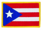 Puerto Rico Flag Patch Gold Border (IRON-ON), Size 8.6cm x 5.7cm - us flag, american flag patch, flag patch uniform school logo jacket - Sold by Uniform World