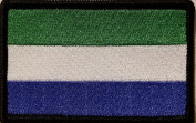 [Single Count] Custom and Unique (8.9cm x 5.7cm Inches) Sierra Leone National FLAG Rectangle Patriotic National Bordered Flag Badge Iron-On Embroidered Applique Patch BLACK BORDER