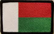 [Single Count] Custom and Unique (8.9cm x 5.7cm Inches) Madagascar National FLAG Rectangle Patriotic National Bordered Flag Badge Iron-On Embroidered Applique Patch BLACK BORDER