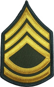 US Army Military Sergeant E-7 First Class Rank Stripes Uniform Chevrons Sewing Iron on Arms Shoulder Embroidered Applique Patch - OD (Olive Drab) (1 Piece)