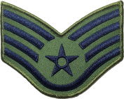 Staff Sergeant Chevrons Rank US Air Force USAF Airman Army Military Sewing Iron on Arms Shoulder Embroidered Applique Patch - OD (Olive Drab) (1 Piece)