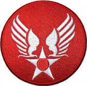 US Air Force USAF Logo Star Wing Army Military Embroidered Sewing Iron on Patch - Red