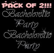 BACHELORETTE PARTY clear rhinestone iron-on Hotfix transfer bling DIY- Lot of 2!!!