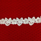 Ivory pearl and sequined lace trim, beading cord lace trim, bridal lace trim selling per yard