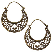 Earrings spiral arches arches circles Heart Antique Brass Golden Brass Tribal Jewellery