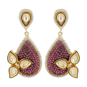 Dilan Jewels KNOWLEDGE Collection Pink Coloured Antique Golden Floral Earrings For Women