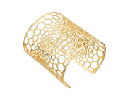 G & H Gold Plated Sterling Silver Large Wide Lace Cut Out Cuff Bracelet