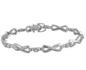 Diamond Tennis Bracelet Classic 14K White Gold X O Design Baguette and Round Diamonds