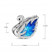 TINYSAND 925 Sterling Silver Swan Princess Lake Blue Hand-made Charm Bead
