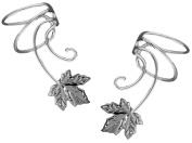 Maple Leaf Pair 925 Sterling Silver Non-pierced Wave Ear Cuff Earrings