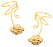 Planet Saturn Pair Gold On 925 Sterling Non-pierced Wave Ear Cuff Earrings