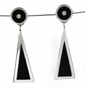 .925 Sterling Silver Cubic Zirconia in Circle over Triangle Dangle Earrings