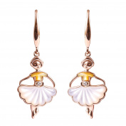 9K High Polished Rose Gold with White and Yellow Pearl and 0.02ct Diamond Amazing Earrings