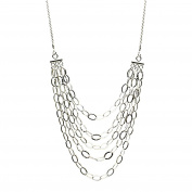 Sterling Silver Multi-strand Bib Chain 1.5mm Diamond-Cut Rope Necklace Italy