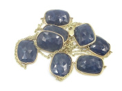 Slice Sapphire Blue 80cm Necklace ,14K Yellow Gold Cable Chain