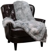 Chanasya Super Soft Shaggy Fuzzy Fur Fluffy Faux Fur Warm Elegant Cosy with Sherpa Colour Variation Pattern Print Plush Silver Grey Throw Blanket (130cm x 170cm )- Silver Grey
