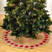Felicia Poinsettia Burlap Holiday Christmas Tree Skirt, Stocking