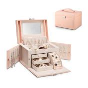 Vlando Faux Leather Mirrored Jewellery Box Organisers Vintage Gift Case w/Lock