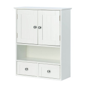 Gracelove Nantucket White Wall Storage Cabinet with 2 Pullout Drawers