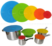 Joy of Kitchen Colourful Silicone Lids, Reusable Suction Seal Covers for Pots, Pans, Bowls, Plates, Cups and Any Rround Container, Universal Food Covers, Safe for Microwave, Oven and Freezer, Set of 5