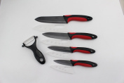 Wolfgang Cutlery 9PC. Professional Series Ceramic knife Sets Red/Black With Black Blades