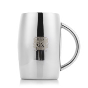 Homestia Insulated Beer Mug Double Wall Stainless Steel Beer Stein with Arris Barrel Shape 430ml for Coffee Tea Milk