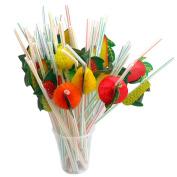 Ewandastore Fruit Drinking Straws-Assorted Colour Long Disposable Flexible Bendable Plastic Drinking Straws Craft Garland Straws,100 Pcs