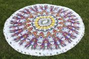 Hippie Mandala Feather Round Roundie Beach Throw Indian Tapestry, Hippy Yoga Mat Decor Throw Beach Blanket, Cotton Gypsy Table Cloth, Beach Roundies, Circle Mandala Towel, Dorm Decor 180cm