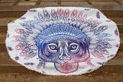 Bhagyoday Fashions- Indian Tribal African Lion Mandala Round Towel, Hippie Gypsy Cotton Beach Towel Yoga Mat, Picnic Mat, Boho Bedding, Table Throw, Oversize Towel 180cm