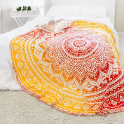 Exclusive- Indian Ombre Mandala Tapestry Roundie Yoga Mat Decor, Roundie Beach Throw Tapestry, Hippy Boho Gypsy Cotton Table Cover Beach Towel, Oversize Towel, Circle Mandala Beach Towel Decor 180cm