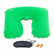 Shuohu Travel Flight Long Trip Inflatable U-shaped Neck Pillow + Eyepatch + Earplugs