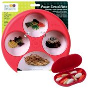 Meal Measure Portion Control Plate (Red) with Matching VitaCarry 4 Compartment Pocket Size Pill Box