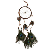 Magic Dream Catcher Round Net With Peacock Feather Home Car Wall Hanging Décor
