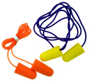 ToolUSA 50 Pairs Box Of Noise Reduction Earplugs With Adjoining Cords In Two Colours