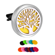 HooAMI Tree of Life Car Air Freshener Aromatherapy Essential Oil Diffuser - 316L Stainless Steel Locket With Vent Clip