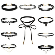 Choker Necklace, Black Stretch Velvet Gothic Lace Choker Necklaces Set for Women Girls,10 Pieces from Diames