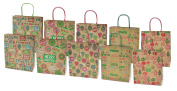 Christmas Large Gift Bags Kraft with Glitter, 10 Pack