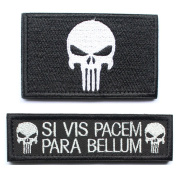 Bundle 2 pieces - Punisher Skull Si Vis Pacem Para Bellum Tactical Morale Patch with Hook and loop backing Decorative Embroidered Badge appliques