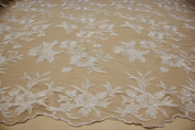 Designer Embroidery Lace Floral Style Fabric Nude Background See Through Mesh