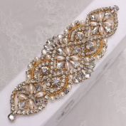 Elegant Wedding Rhinestone Applique with Pearls for Dresses and Bridal Belts-Beaded Rhinestones Sewing or Hot Fix-Gold & Clear-1 Piece-
