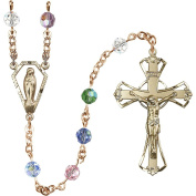 14 Karat Yellow Gold Rosary 6mm Multi-Colour beads Crucifix sz 1 3/4 x 1 1/8. Miraculous medal charm