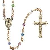 14 Karat Yellow Gold Rosary 4mm Multi-Colour beads Crucifix sz 1 1/8 x 5/8. Scapular medal charm