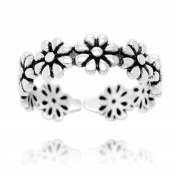 Oxidised Sterling Silver Open Flower Ring Band, Size 6 - Adjustable